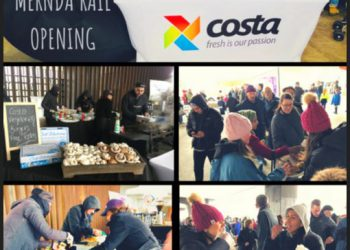 Delicious Costa Mushrooms burgers served up free in support of the Mernda Rail open day!