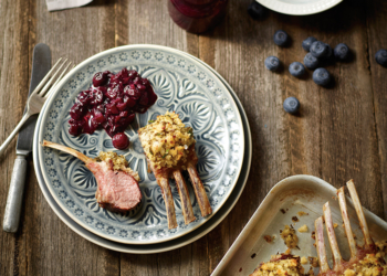 Pepper Crusted Lamb Racks with Blueberry and Pear Chutney
