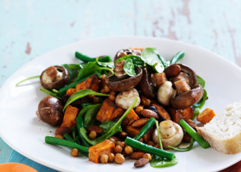 Mushroom, Sweet Potato & Chickpea Salad